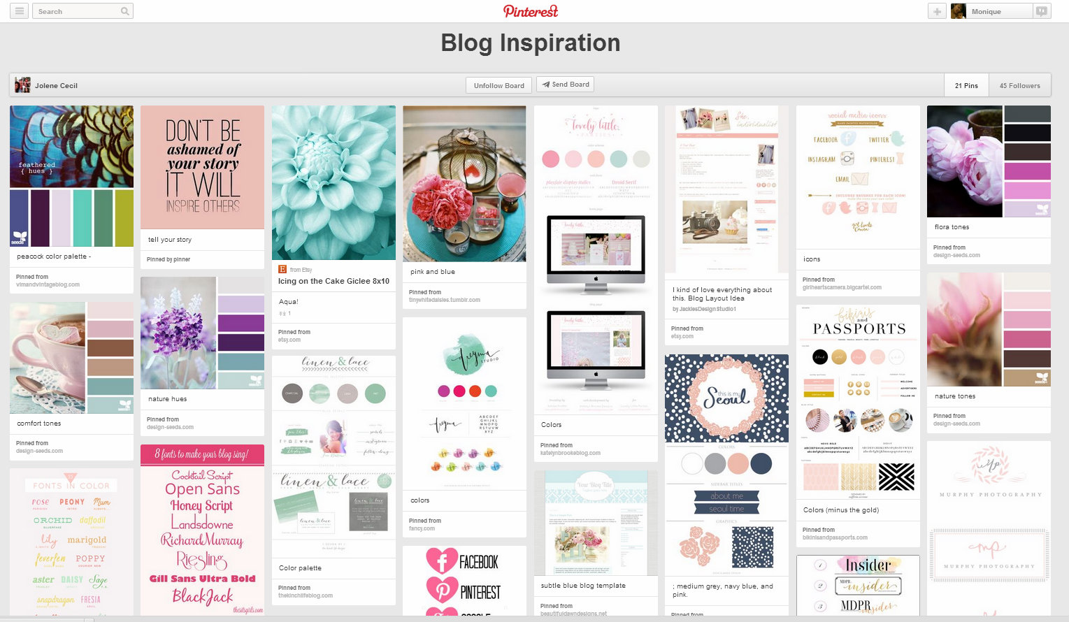 pinterest blog design inspiration board